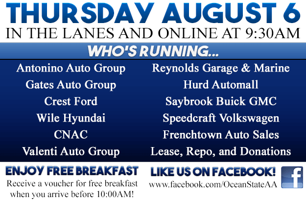 Dealers Running Vehicles at Ocean State Auto Auction on Thursday August 6