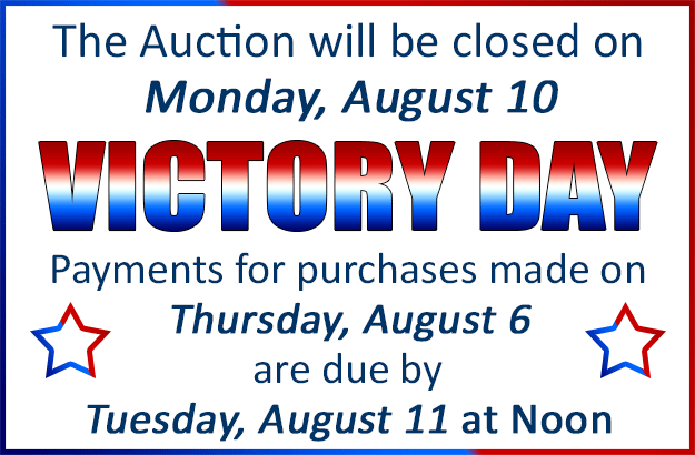 Ocean State Auto Auction will be closed on Monday, August 10 for Victory Day